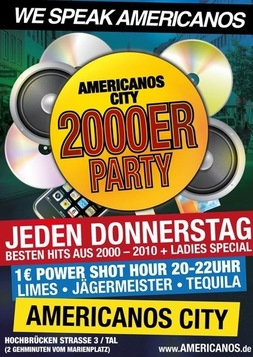 Dieses Bild zeigt den Flyer des Events We Speak Americanos 2000er