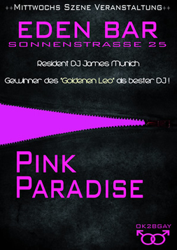 This picture shows the flyer for the event Pink Paradise