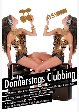 This picture shows the flyer for the event juke & joy donnerstagsclubbing