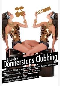 Dieses Bild zeigt den Flyer des Events juke & joy Donnerstags Clubbing